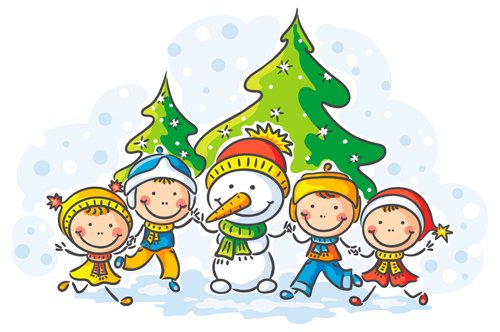 Happy winter children cartoon vector 04